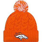 New Era Women's Denver Broncos Cozy Cable Orange Pom Knit