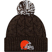 New Era Women's Cleveland Browns Cozy Cable Brown Pom Knit