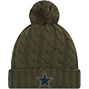 New Era Women's Salute to Service Dallas Cowboys Olive Cuffed Knit