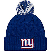 New Era Women's New York Giants Cozy Cable Blue Pom Knit