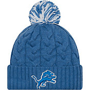 New Era Women's Detroit Lions Cozy Cable Blue Pom Knit