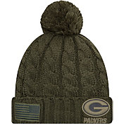 New Era Women's Salute to Service Green Bay Packers Olive Cuffed Knit