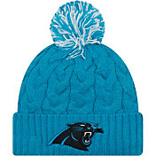 New Era Women's Carolina Panthers Cozy Cable Blue Pom Knit