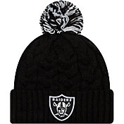 New Era Women's Oakland Raiders Cozy Cable Black Pom Knit