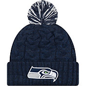 New Era Women's Seattle Seahawks Cozy Cable Navy Pom Knit