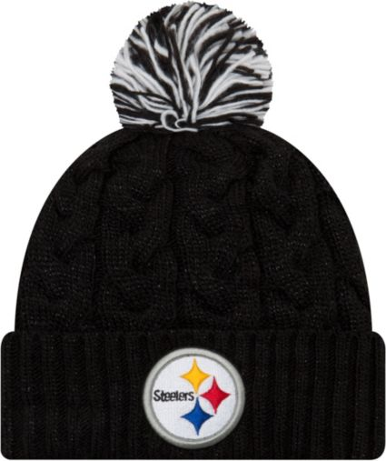 26ffaf692 New Era Women s Pittsburgh Steelers Cozy Cable Black Pom Knit ...