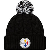 New Era Women's Pittsburgh Steelers Cozy Cable Black Pom Knit