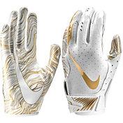 Nike Adult Vapor Jet 5.0 Receiver Gloves in White/University Gold