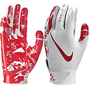 Nike Youth Vapor Jet 5.0 Receiver Gloves in White/University Red
