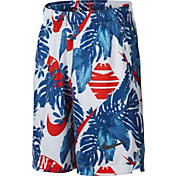 Nike Boys' Dri-FIT Allover Print Fly Shorts in Indigo Force/Habanero Red