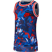 Nike Boys' Hoopfly Dri-FIT Printed Tank Top in Lt Crimson