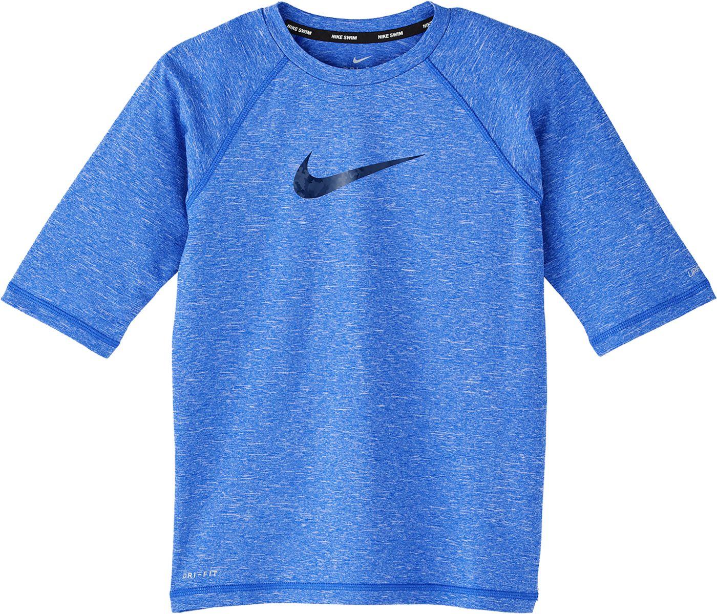 Nike Boys' Heather Camo Swoosh Half Sleeve Hydro Rash Guard