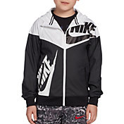 Product Image · Nike Boys  Sportswear Graphic Windrunner Jacket · Black  White · Blue · Gray 03639035e