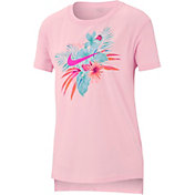 Nike Girls' Sportswear Foliage Futura Graphic Tee in Pink Foam