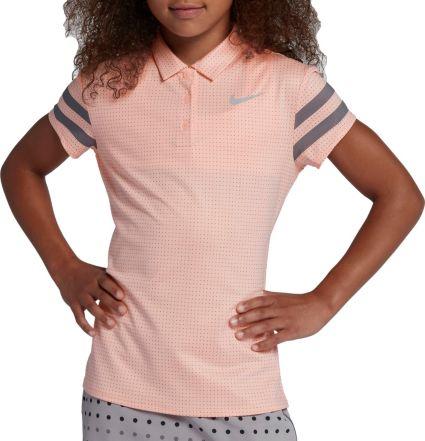 Nike Girls' Short Sleeve Dot Golf Polo