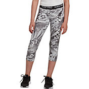 Nike Girls' Pro Allover Print Capri Tights in Cool Grey/White