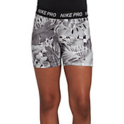 Nike Girls' Pro Allover Print 2 Boy Shorts in Atmosphere/Grey/White/Blk