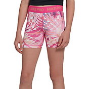Nike Girls' Pro Allover Print 2 Boy Shorts in Laser Fuchsia/Pink Foam