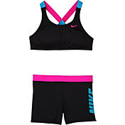 Nike Girls' Rift Prism Crossback Sport Bikini Top and Swim Shorts Set
