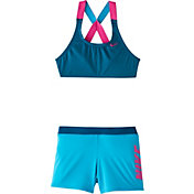 Nike Girls' Rift Prism Crossback Sport Bikini Top and Swim Shorts Set