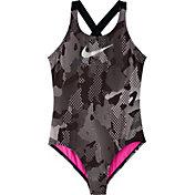 Nike Girls' Optic Camo Crossback One Piece Swimsuit