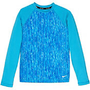 Nike Girls' Rush Heather Long Sleeve Hydro Rash Guard
