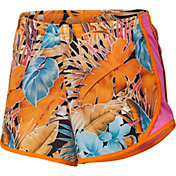 Nike Girls' Dry Wonderland Tempo Printed Shorts in Orange Peel/Laser Fuschia