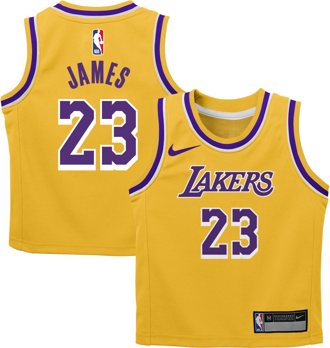 new products 44971 63e67 Nike Infant Los Angeles Lakers LeBron James #23 Gold Dri-FIT Swingman Jersey