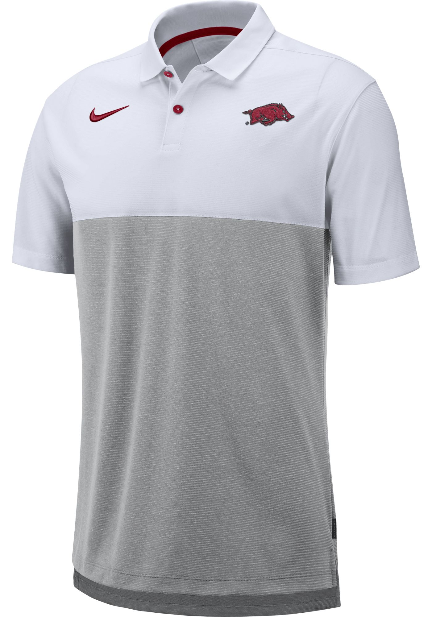 Nike Men's Arkansas Razorbacks White/Grey Dri-FIT Breathe Football Sideline Polo