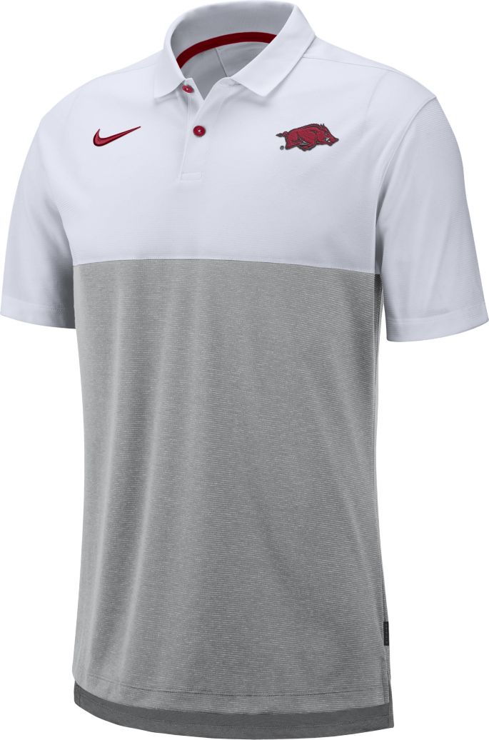 8c4470585e3 Nike Men's Arkansas Razorbacks White/Grey Dri-FIT Breathe Football Sideline  Polo 1