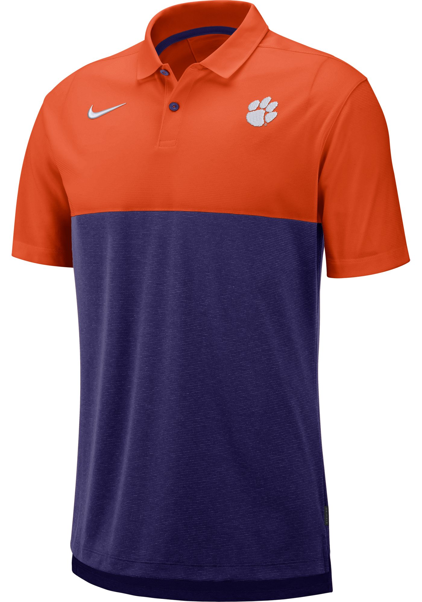 Nike Men's Clemson Tigers Orange/Regalia Dri-FIT Breathe Football Sideline Polo