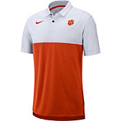Nike Men's Clemson Tigers White/Orange Dri-FIT Breathe Football Sideline Polo