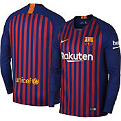 Nike Men's Barcelona FC 2018 Breathe Stadium Home Replica Long Sleeve Jersey