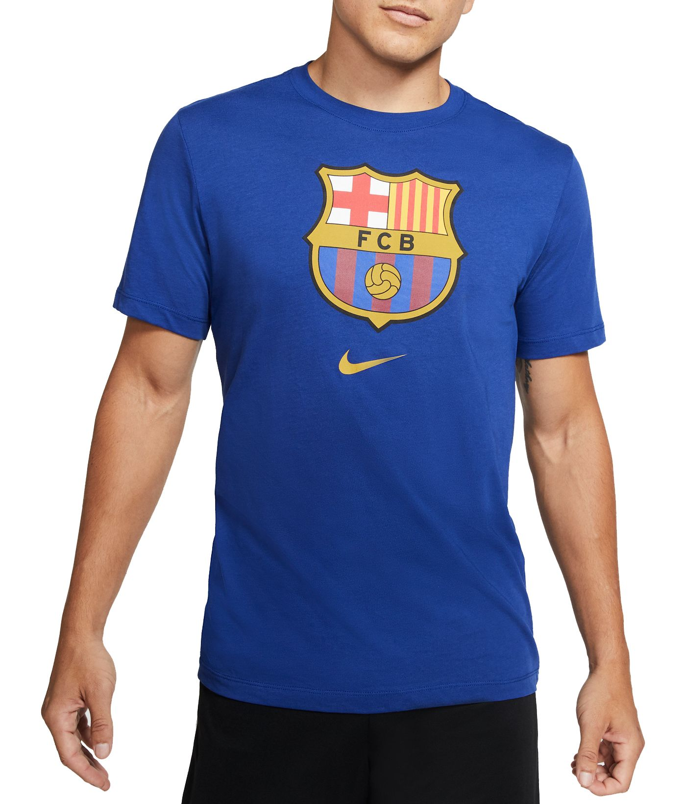 Nike Men's FC Barcelona '19 Crest Blue T-Shirt