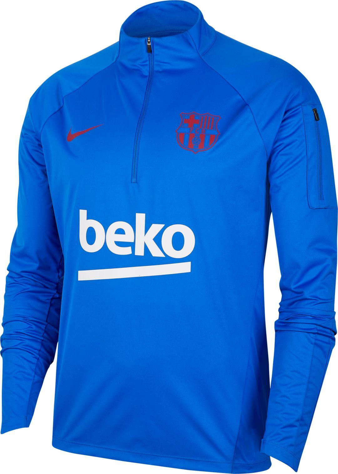 lowest price 9bbe9 ab8af Nike Men's FC Barcelona Blue Training Quarter-Zip