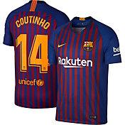Nike Men's FC Barcelona Philippe Coutinho #14 2018 Breathe Stadium Home Replica Jersey