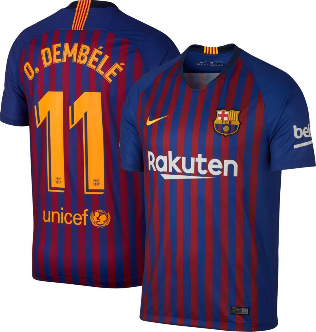 ce811d62 Nike Men's FC Barcelona Ousmane Dembele #11 2018 Breathe Stadium Home  Replica Jersey 1