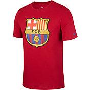 Nike Men's FC Barcelona Crest Maroon T-Shirt