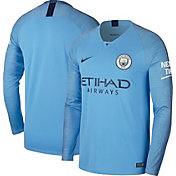 Nike Men's Manchester City 2018 Breathe Stadium Home Replica Long Sleeve Jersey