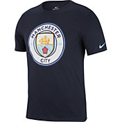 Nike Men's Manchester City Crest Navy T-Shirt