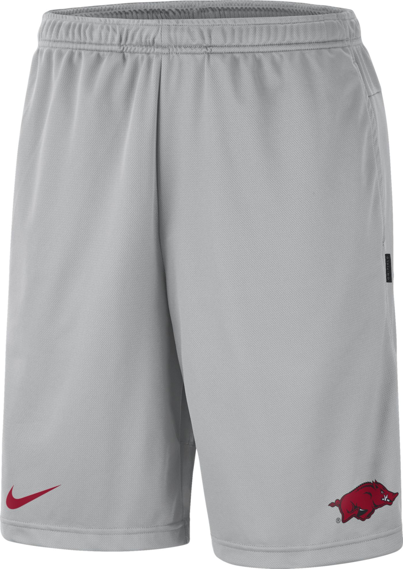 Nike Men's Arkansas Razorbacks Grey Dri-FIT Coach Shorts