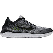 Nike Men's Free RN Flyknit 2018 Running Shoes in Black/White/Black