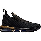 d7f705d7ca4 Product Image · Nike Men s LeBron 16 Basketball Shoes · Black Metallic Gold