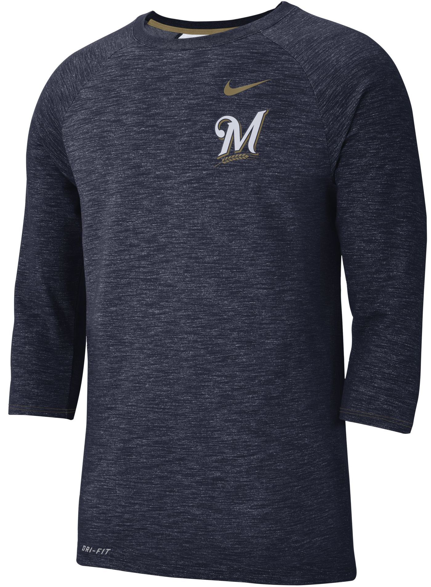 Nike Men's Milwaukee Brewers Dri-FIT Slub Three-Quarter Sleeve Shirt