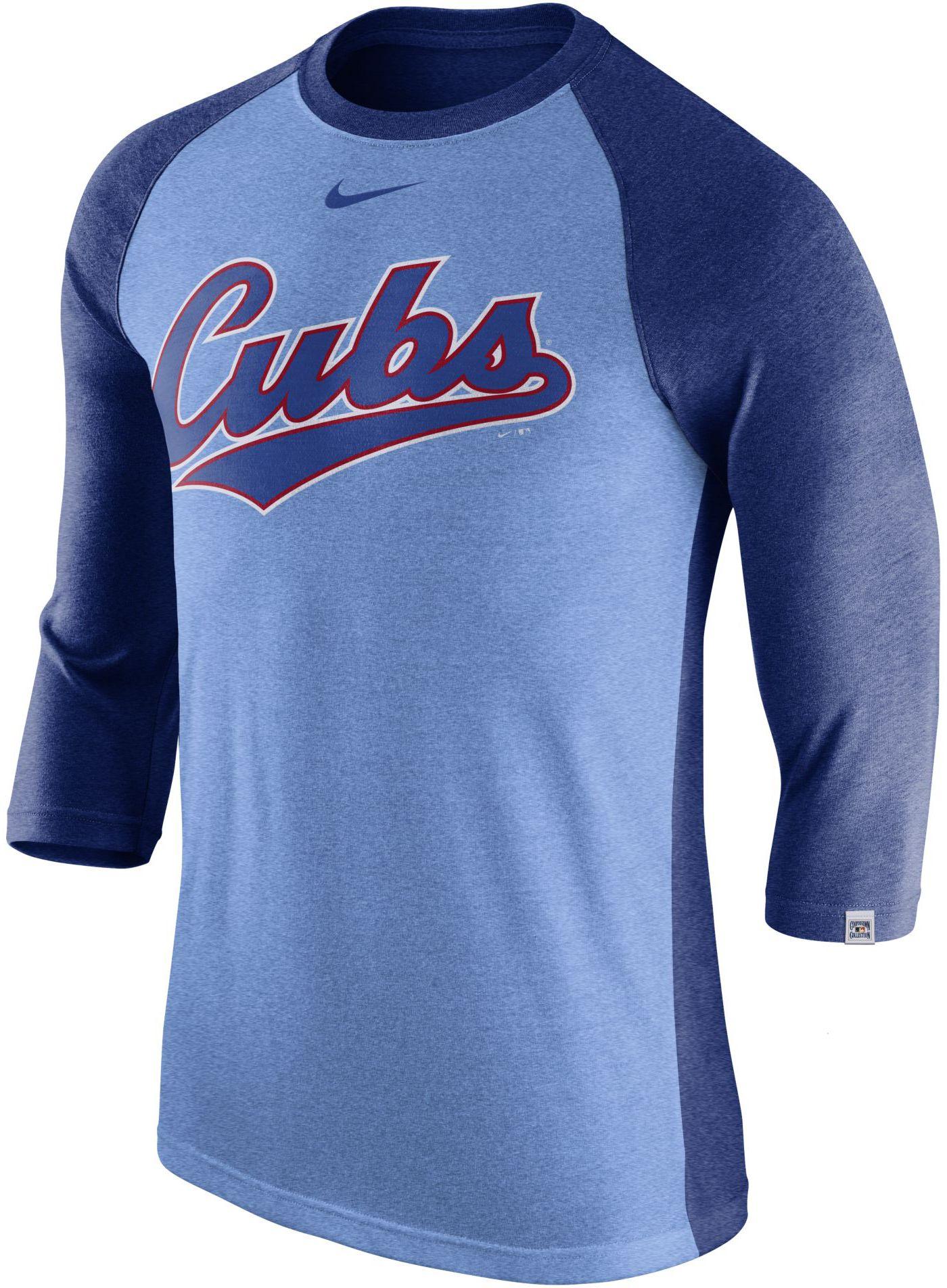 Nike Men's Chicago Cubs Dri-FIT Raglan Three-Quarter Sleeve Shirt