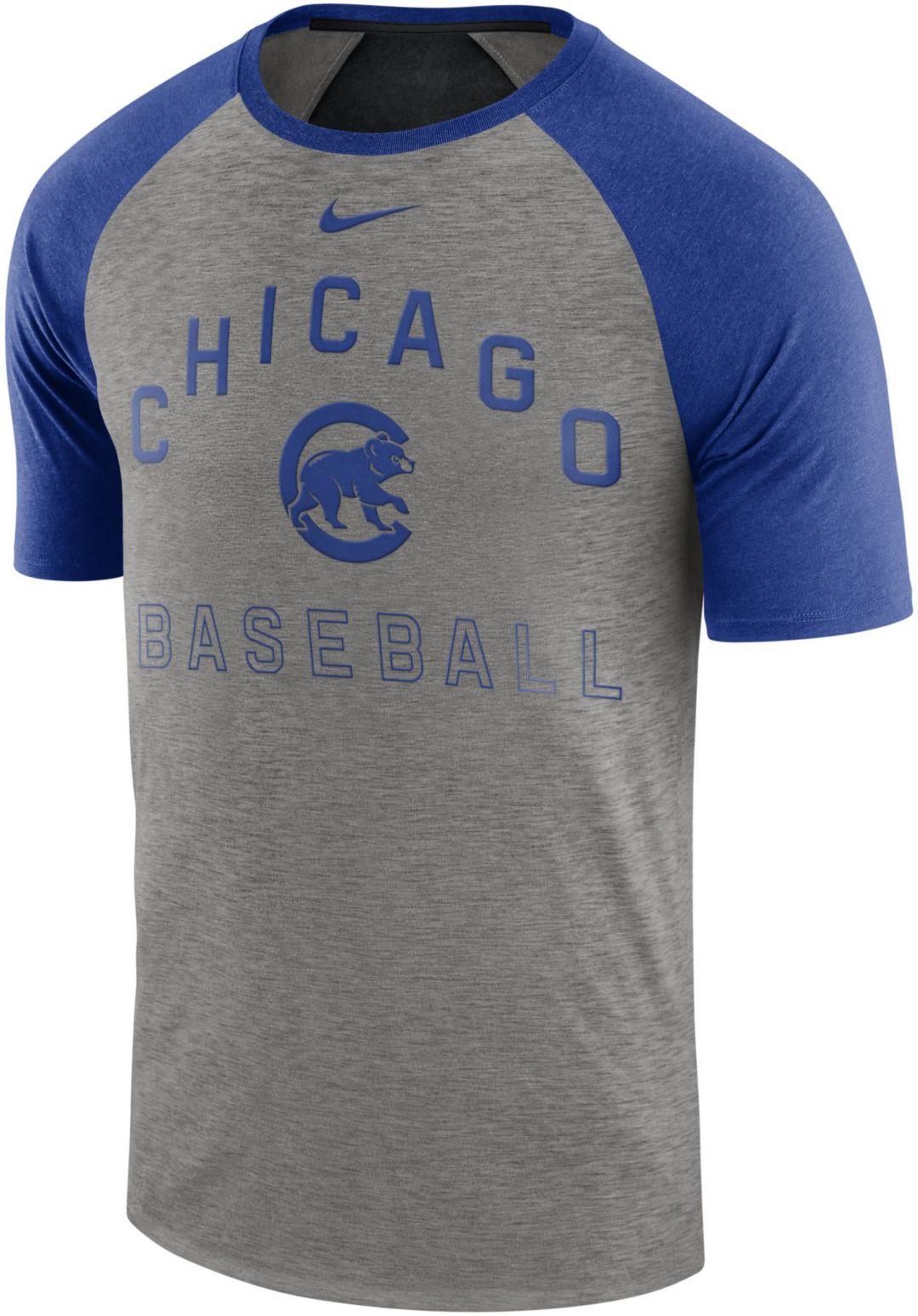 new products 0d488 8b59e Nike Men's Chicago Cubs Dri-FIT Slub Raglan T-Shirt