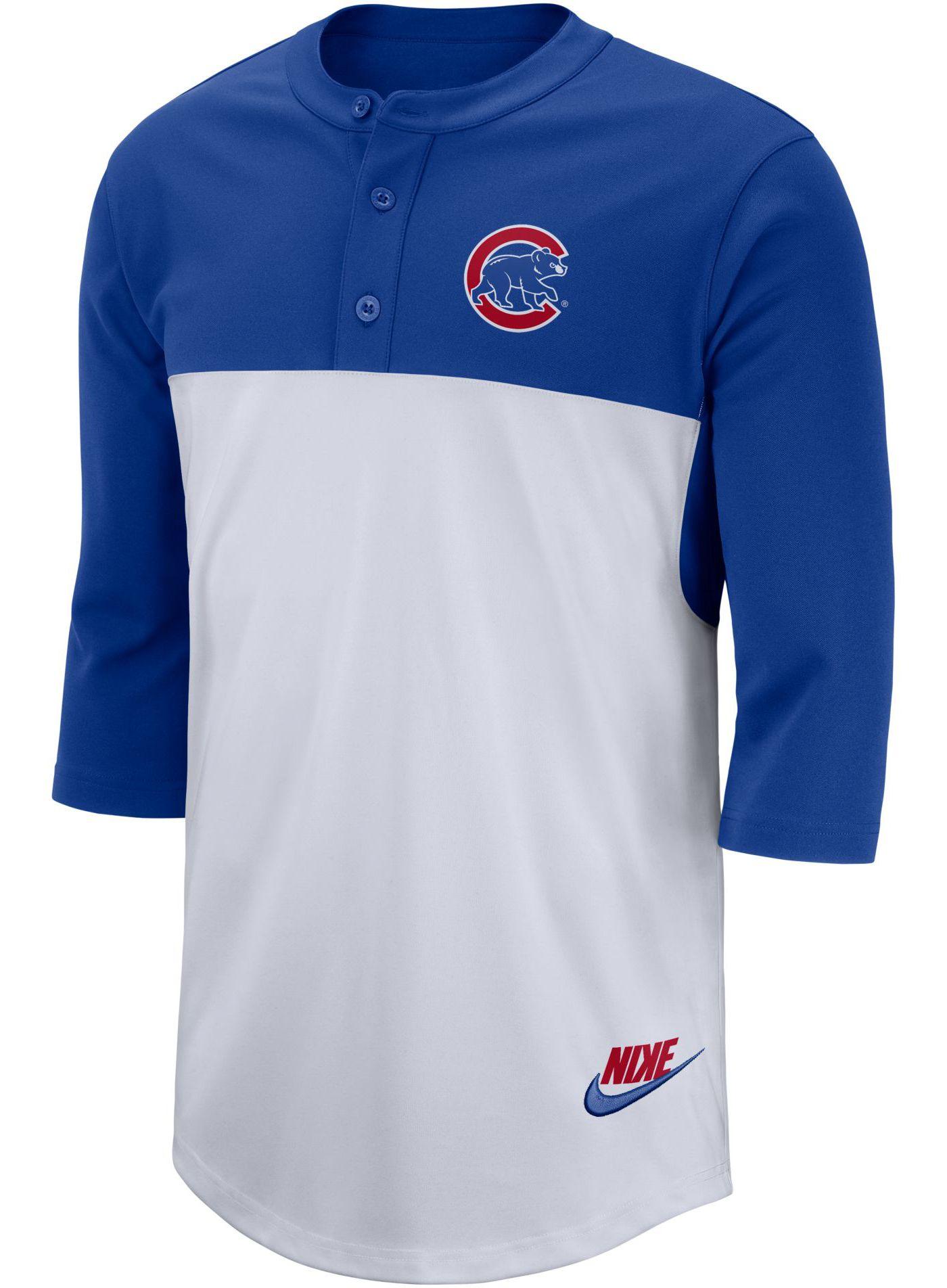 Nike Men's Chicago Cubs Dri-FIT Henley Three-Quarter Sleeve Shirt
