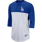 Nike Men's Los Angeles Dodgers Dri-FIT Henley Three-Quarter Sleeve Shirt