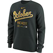 "Nike Men's Oakland Athletics 2018 MLB Postseason Dri-FIT Authentic Collection ""October Ready"" Grey Long Sleeve Shirt"