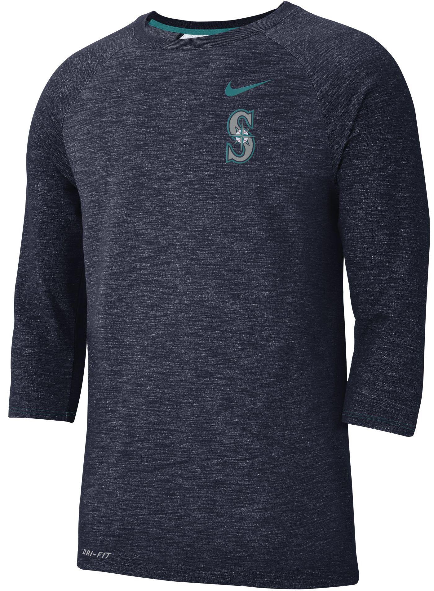Nike Men's Seattle Mariners Dri-FIT Slub Three-Quarter Sleeve Shirt